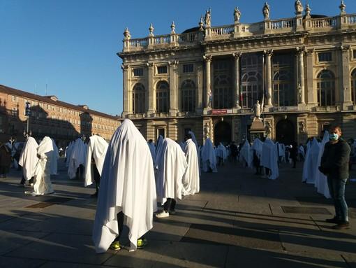 Manifestazione in piazza Castello a Torino