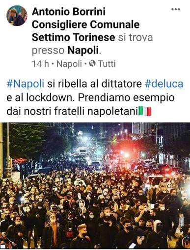 """Settimo, Borrini: """"Napoli si ribella, prendiamo esempio"""""""